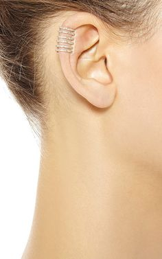 Elise Dray pink gold and brown diamonds ear cuff