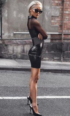 Black Leather Pencil Skirt, Leather Mini Dress, Micah Gianelli, Urban Fashion, Womens Fashion, Beautiful Legs, Gorgeous Women, Sexy High Heels, Sexy Outfits