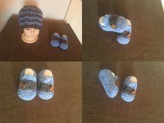 Crochet baby slip on and beanie :)