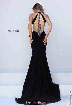 Sherri Hill Beaded Black Evening Gown 50122