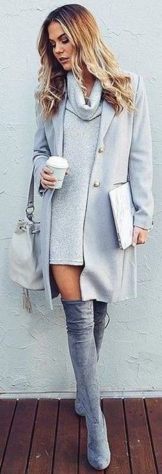 monochrome / gray / thigh high boots / otk boots / sweater / fall / winter / cold outfit / business casual