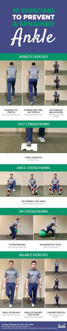 If you've rolled your ankle before, you're at a higher risk of a repeat injury. You can do these 10 exercises at home to avoid the pain of a sprained ankle! Ankle Mobility Exercises, Balance Exercises, Stretches, Easy Workouts, At Home Workouts, Increase Muscle Mass, Back In The Game, Sprained Ankle, Workout Warm Up