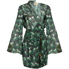 Adriana Degreas Ginko-leaf print silk-chiffon wrap kaftan (1,850 AED) ❤ liked on Polyvore featuring tops, tunics, silk chiffon top, green tunic, oversized tops, wrap style top and oversized tunic