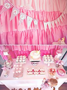 pink princess party dessert table with pink ruffle backdrop