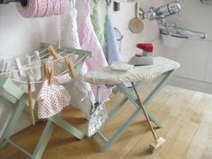 These are real toys but they would look wonderful in a mini setting. Miniature Rooms, Miniature Furniture, Dollhouse Furniture, My Doll House, Barbie Dream House, Doll Houses, Scandinavian Toys, Vintage Laundry, Laundry Room Design