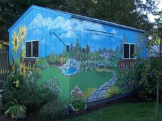 Outdoor Murals Dress Up Sheds, Garages And Blank Walls, Outdoor Wall Painting Ideas - Village Book Store MN Art Mur, Mural Art, Wall Murals, Painted Garden Sheds, Painted Shed, Painted Fences, Painted Walls, Hand Painted, Outdoor Sheds