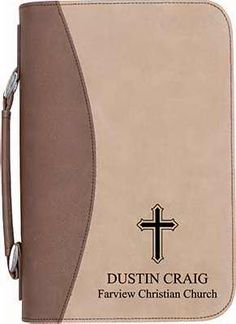 ENGRAVABLE BIBLE COVER W/HANDLE-FAUX LEATHER-TAN/BROWN ,  Personalized Price $32.00  Easily protect the most important book in your library using this two-tone faux leather, personalized Bible cover. Great for around the house, on the road, and at church. Includes one exterior pocket, convenient handle, and zippered enclosure.  http://www.faithinstore.com/ProductInfo.aspx?id=518117&templateid=35