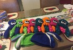 Crochet Splatoon inklings and hats