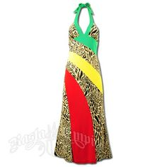 This long halter dress has alternating stripes done with Rasta colors and exotic animal print. The back of the dress is done in the animal print.