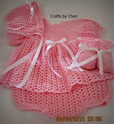 Cheri's Crochet Baby or reborn baby doll clothing or craftsbycheri: Crochet newborn baby dress, diaper cover, bonnet, and booties