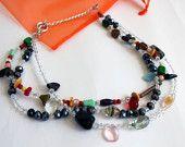 Modern necklace // Beaded necklace // Multicolor necklace // Classy necklace // Elegant necklace // Contemporary necklace // Unique necklace
