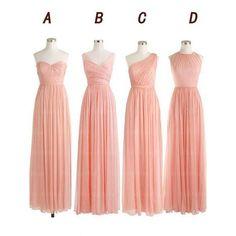 pink bridesmaid dress,long bridesmaid dress,chiffon bridesmaid dress,mismatched bridesmaid dress,BD567 #bridesmaiddress#fashion#promdress#eveningdress#promgowns#cocktaildress