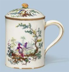 A SEVRES PORCELAIN LARGE MUG AND COVER (POT A BOIRE)