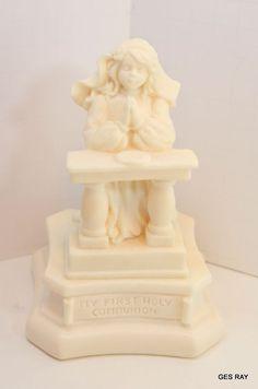 Ivory Alabaster Figurine Music box Girl Figurine Signed Vivian C Roman Inc.1998