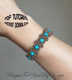 PDF Tutorial Macrame bracelet PATTERN Micro macrame tutorial DIY bracelet Macrame jewelry making Easy beaded bracelet Macrame Bracelet Patterns, Macrame Bracelet Tutorial, Macrame Necklace, Macrame Patterns, Macrame Bracelets, Macrame Knots, Loom Bracelets, Macrame Wall Hanging Tutorial, Micro Macrame Tutorial