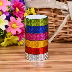 12pcs/lot Candy Colored Laser Tape Diary Decorative Stickers Collectibles DIY Decorative Sticky Stationery Adhesive Sticker