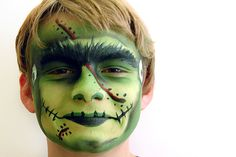 Easy-to-follow Frankenstein face paint tutorial is perfect for both boys and girls, of any age Face Painting Tutorials, Face Painting Designs, Body Painting, Face Painting Halloween Kids, Halloween Face Makeup, Halloween Fun, Kids Makeup, Fx Makeup, Frankenstein Face Paint