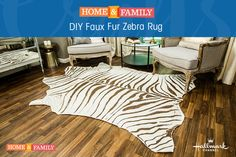 DIY Faux Zebra Rug ****** NOTE: That the written information is good but for some reason the video that comes up has nothing to do with making this rug. Living Room Carpet, Rugs In Living Room, Zebra Skin Rug, Zebra Rugs, Zebra Print Bedding, Home And Family Hallmark, Room Rugs, Rugs On Carpet, Kimonos