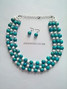 Hey, I found this really awesome Etsy listing at https://www.etsy.com/listing/240484953/turquoise-and-white-necklace-turquoise