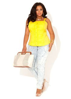Ashley Stewart Ruched Corset Top, Destructed Acid Washed Spatter Jeans and Keyhole Oversized Clutch.