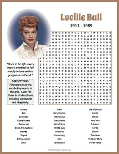 Have a good laugh recalling the antics and glamour of the amazingly talented Lucille Ball with this engaging printable word search puzzle. Printable Word Games, Free Word Games, Free Printable Word Searches, I Spy Games, Free Printable Worksheets, Printable Word Search Puzzles, Printables, Elderly Activities, Dementia Activities