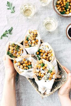 ~ Roasted Chicken Pita Wraps with Crispy Chickpeas and Tzatziki ~