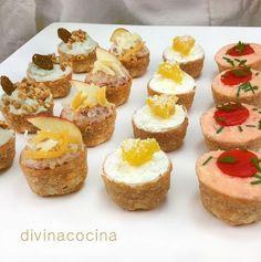 Aquí tienes muchas ideas para preparar tartaletas saladas variadas para aperitivos fríos o calientes. Puedes usar tartaletas de pasta sable o brisa, o tartaletas de hojaldre.