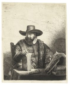 REMBRANDT HARMENSZ. VAN RIJN 1606 - 1669 CORNELIS CLAESZ. ANSLO, PREACHER (B., HOLL. 271; NEW HOLL. 197; H. 187) Etching and drypoint, 1641, a fine impression of the second (final) state, New Hollstein's third state (of five), with the Baillie re-work, printing with touches of burr on the contour of the face, the sleeve, lower left corner and elsewhere, on oriental paper plate: 186 by 155mm 7 3/8 by 6 1/8 in sheet: 194 by 161mm 7 5/8 by 6 3/8 in