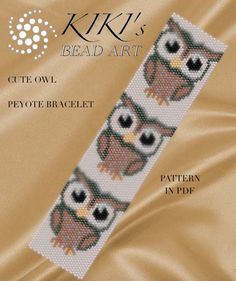Pattern peyote bracelet Cute owls peyote bracelet cuff PDF