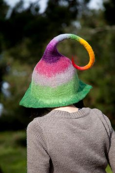 Unique handmade felt hats  fairy hat by Feltthink on Etsy, $75.00 - great inspiration for something knitted.