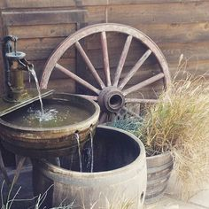 35 Genius Ways People Are Repurposing Whiskey & Wine Barrels - How to Use Barrels As Decor Wine Barrel Water Feature, Whiskey Barrel Fountain, Diy Water Feature, Whiskey Barrels, Rain Barrels, Diy Water Fountain, Fountain Ideas, Wine Barrel Planter, Led Garden Lights