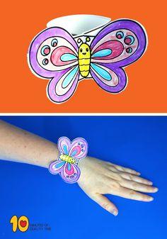 Printable Butterfly Bracelet! #kidsprintables #kidsactivities #kidscrafts#papercraft
