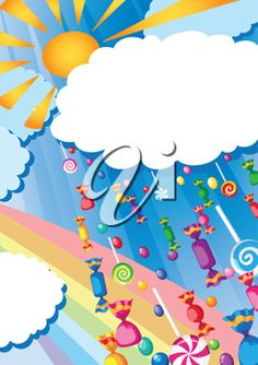 iCLIPART - Royalty free birthday clip art illustration of a candy rain and sun card