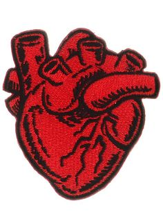 X-Ray Anatomical Heart Iron-On Patch at ShopPlasticland.com