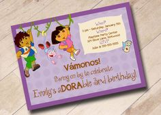 Dora the Explorer Inspired Birthday Invitation on Etsy, $15.00