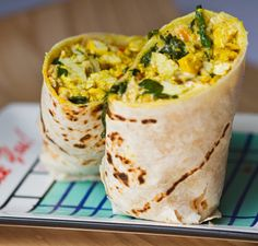 me-minus-50-lbs:    me-minus-50-lbs: Breakfast time! Breakfast burrito made with: 1 tortilla, 2 scrambled eggs, 1 oz cheese, 2 Tbsp chopped onion, 2 Tbsp chopped mushroom, 2 Tbsp spinach, hot sauce ( :