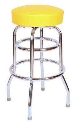 This is our 30 inch quick ship double rung swivel bar stool, with the added stability and look of a functional second footrest ring. It is a commercial bar stool and manufactured in the USA. Our black bar stool ships in just two days.