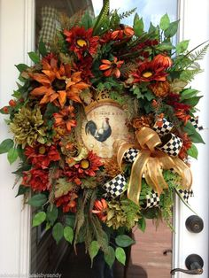 "Fall Autumn Thanksgiving Rustic Rooster Country Decor 32""L Wreath"