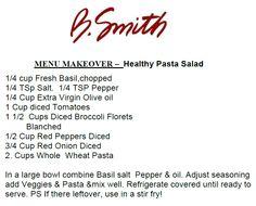 MENU MAKEOVER –  Healthy Pasta Salad