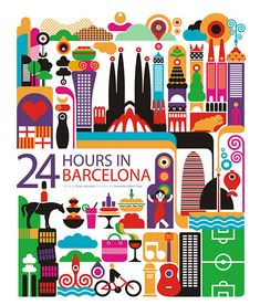 24 hours in Barcelona, Spain. Illustration by Fernando Volken Togni
