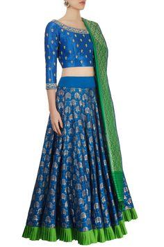 Shop Swati Sunaina - Cerulean blue lehenga set Latest Collection Available at Aza Fashions Half Saree Lehenga, Lehnga Dress, Blue Lehenga, Lehenga Blouse, Sarees, Half Saree Designs, Lehenga Designs, Blouse Designs, Designer Party Wear Dresses