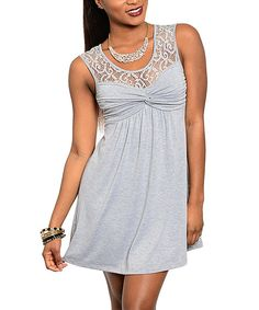 This Gray Lace Empire-Waist Dress - Women by 24|7 Frenzy is perfect! #zulilyfinds