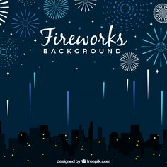 City background with fireworks Free Vector Fireworks Background, City Background, Ad Design, Graphic Design, Design Ideas, Fireworks Design, Clothing Store Displays, Calendar Design, New Year 2020