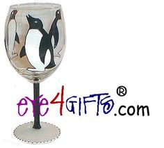Hand Painted Penguin Wine Glasses Perfect For the Bride and Groom
