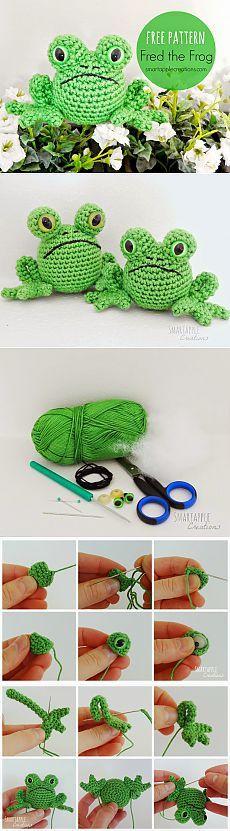 Smartapple творения - амигуруми, вязание крючком: бесплатный шаблон - Фред Лягушка
