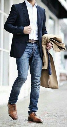 Classy business look with navy blue suit & camel overcoat. find this pin and more on men's fall casual fashion Business Attire For Men, Fashion Business, Business Outfits, Business Men, Mens Business Casual Jeans, Business Style, Business Ideas, Mens Fashion Blazer, Suit Fashion