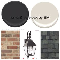 Love this idea but with light brick! Onyx for front door, shutters, and garage and pale oak for house color by Ben Moore. Old mill brick castle from Home Depot, lantern from colony lighting and shingles from Lowe's- all super white trim. Exterior Color Schemes, Exterior Paint Colors For House, Grey Exterior, Paint Colors For Home, Exterior Shutters, Modern Exterior, House Paint Color Combination, Up House, Garage House