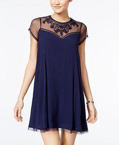 Trixxi Juniors' Embroidered Illusion Shift Dress - Juniors Clearance - Macy's