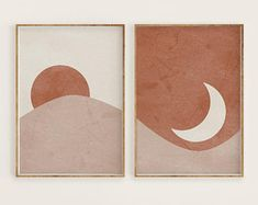 Sun and Moon Print Set of 2 Abstract Landscape Terracotta Printable Mid Century Modern Minimal Wal - - Print Moon, Art Mural, Wall Art, Art Walls, Diy Wall, Wall Collage, Illustration Inspiration, Art Sur Toile, Mid Century Modern Art