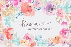 Fresca- Watercolor Flower Clip Art by Angie Makes on @creativemarket